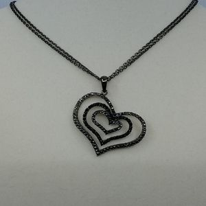 Crystal Black and Silver Heart Necklace